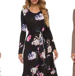 Levaca Black Floral Print Long-sleeve L